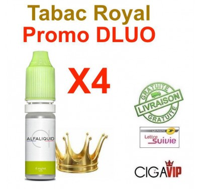 e liquide ALFALIQUID - LOT de 4 - TABAC ROYAL - DLUO DEPASSEE