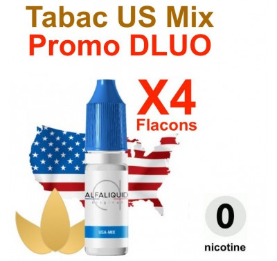 e liquide ALFALIQUID - LOT de 4 - Tabac US Mix - DLUO DEPASSEE