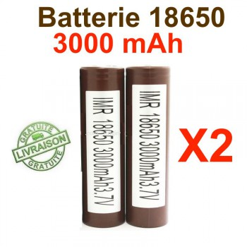 2 batteries 18650 HG2 3000mAh pour BOX MOD
