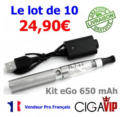 Lot de 10 Kit eGo 650 mAH, Batterie couleur